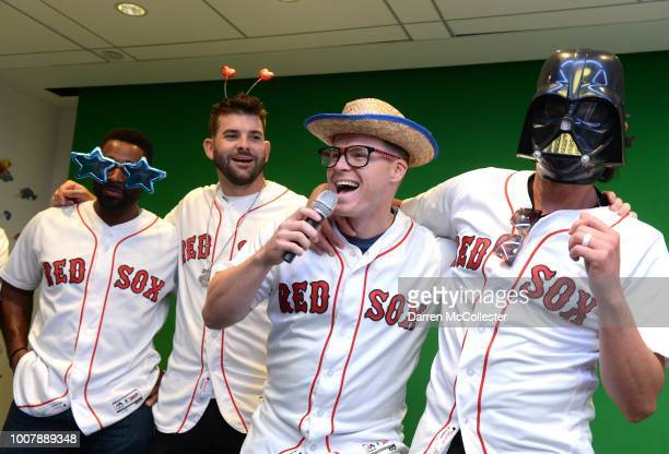 Red Sox players Jackie Bradley Jr Mitch Moreland Brock Holt and Joe Kelly lip sync for the kids at Boston Children's Hospital on July 30 2018 in...