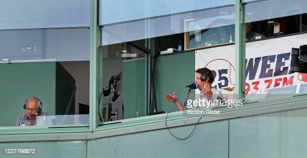 Red Sox radio announcers Joe Castiglione, left, and Will Flemming are pictured in the WEEI booth above home plate. The Boston Red Sox host The...