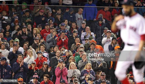 Red Sox starting pitcher David Price gets an ovation from the fans as he leaves the game after being pulled by manager Alex Cora with two outs in the...