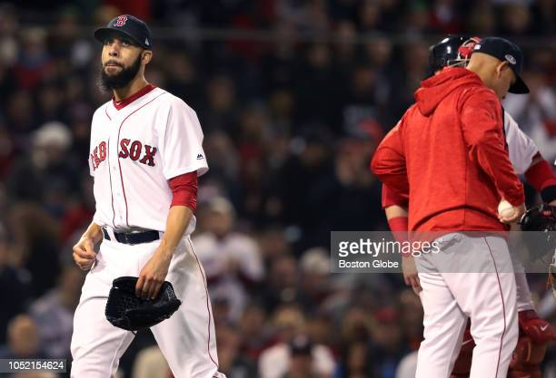 Red Sox starting pitcher David Price leaves the game after being pulled by manager Alex Cora with two outs in the top of the fifth inning The Boston...