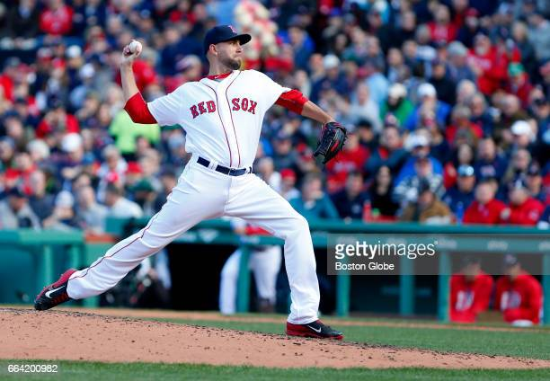 Red Sox starting pitcher Matt Barnes delivers against the Pirates during the seventh inning The Boston Red Sox host the Pittsburgh Pirates on Opening...