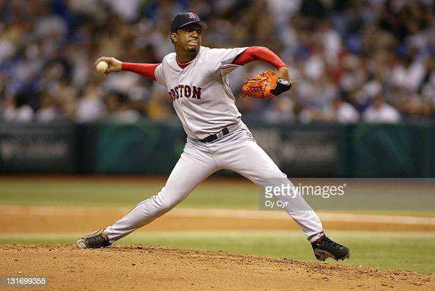 Red Sox starting pitcher Pedro Martinez delivers a pitch during the second inning of action at Tropicana Field in St Petersburg Florida on Friday...
