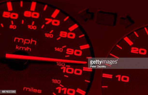 Red speedometer close up