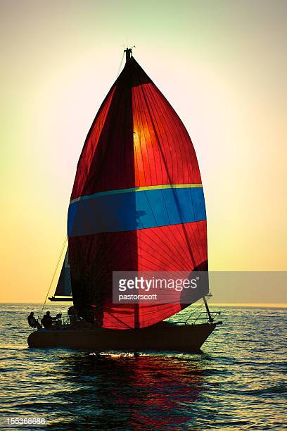 Red Spinnaker Sail Sailboat on California Coast Marina Del Rey