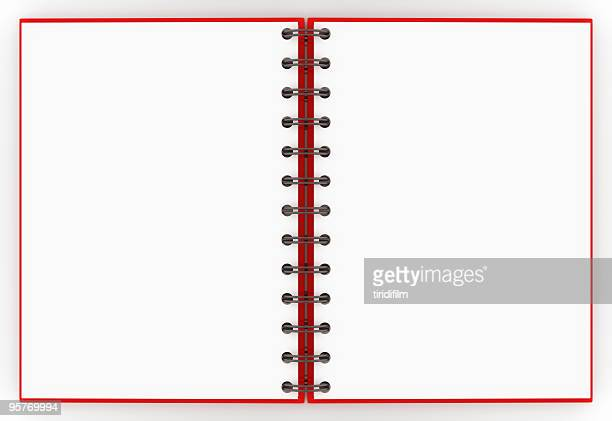 a red spiral notebook opened up to a blank non-lined pages - spiral notebook stock pictures, royalty-free photos & images