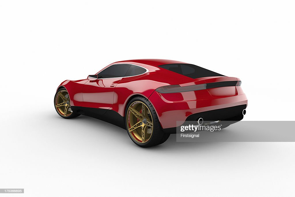 Red Sport Car On White Background : Stock Photo