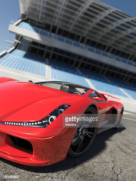 red sports car on concrete outside - smart car stock photos and pictures