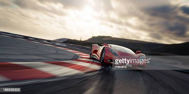 red sports car on racetrack - motorsport stock pictures, royalty-free photos & images