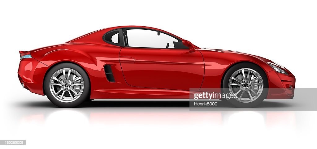 Red sports car on white surface with clipping path : Stock Photo