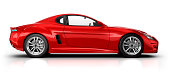 Red sports car on white surface with clipping path