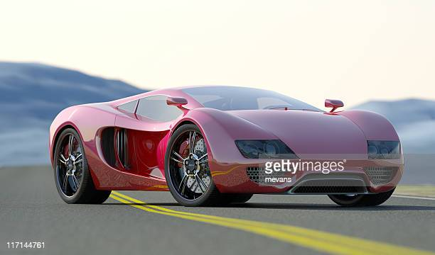 red sports car - sports car stock pictures, royalty-free photos & images
