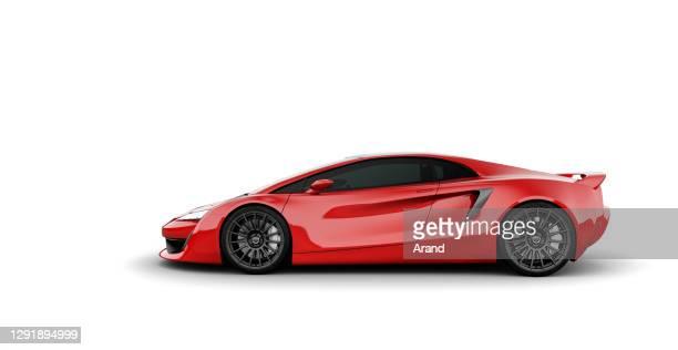 rode sportscar zijaanzicht geïsoleerd op wit - van de zijkant stockfoto's en -beelden