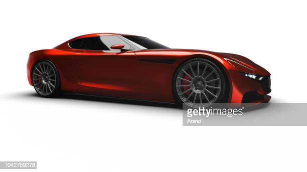 red sportscar studio shot - sports car stock pictures, royalty-free photos & images