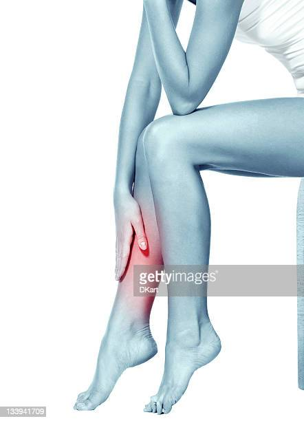 red spot pinpointing pain in woman's leg - feet torture stock pictures, royalty-free photos & images