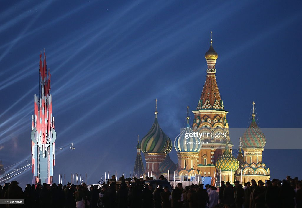 Red Square and Saint Basil's Cathedral stand illuminated during rehearsals ahead of celebraitons to mark the 70th anniversary of the victory over Nazi Germany and the end of World War II on May 6, 2015 in Moscow, Russia. The city of Moscow will celebrate the anniversary on May 9 with a Victory Day international military parade and other events that most European leaders are snubbing due to Russia's involvement in the war in eastern Ukraine.