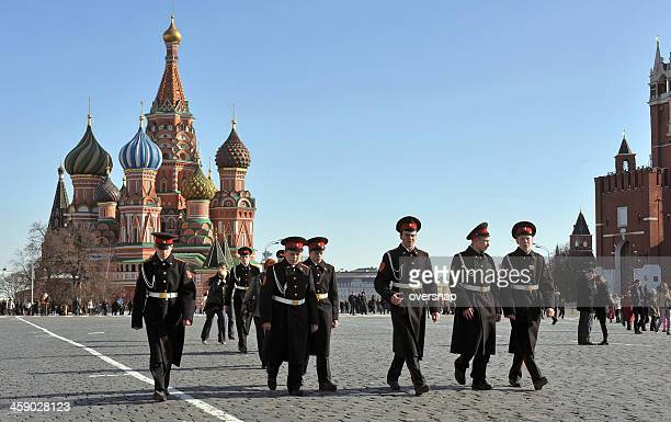 red square cadets - russian military stock pictures, royalty-free photos & images