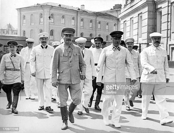 Red square moscow ussr july 24 1936 allunion physical culture parade left to right leaving kremlin to go to red square nikolay yezhov dimitrov lm...