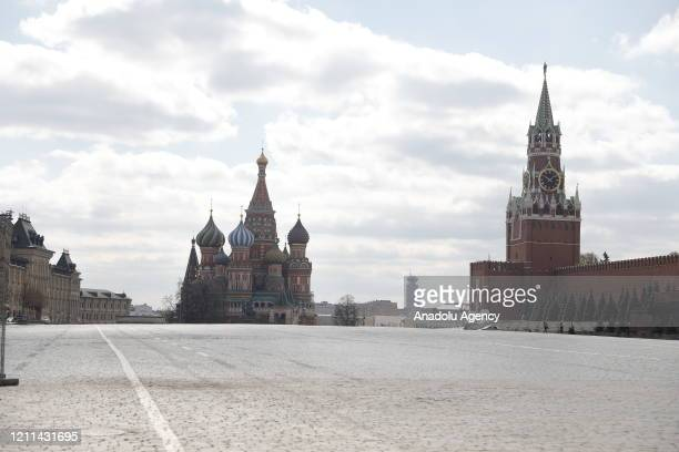 Red Square remains empty due to coronavirus pandemic on International Workers' Day in Moscow Russia on May 01 2020