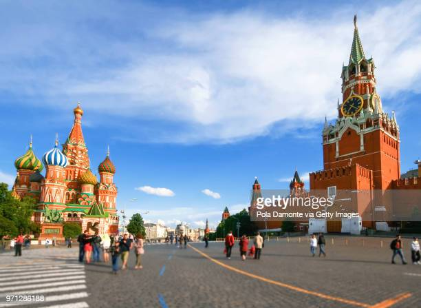 Red Square with the St Basil's Cathedral on the left and the Kremlin on the right, Moscow, Russia