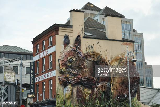 'Red Squirrel' massive mural by Portuguese environmental artist Artur Bordalos aka Bordalo II in Dublin On Monday 27 October 2017 on Georges Quay in...