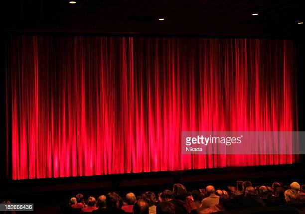 red stage curtain - opera stage stock pictures, royalty-free photos & images