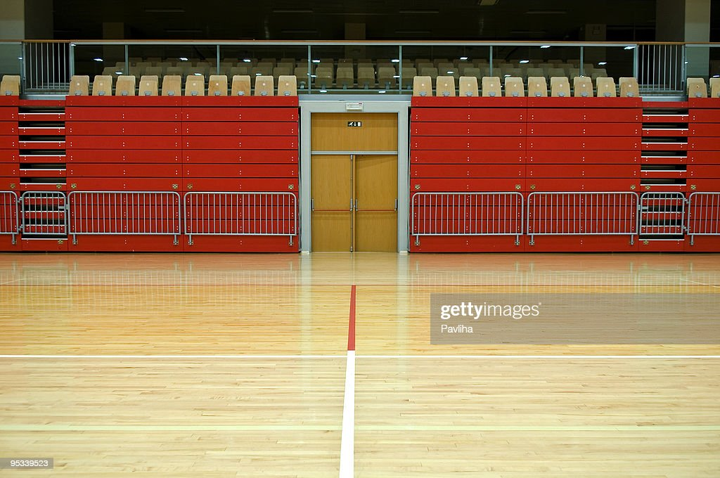 Red Stand in Empty Sports Hall : Stock Photo