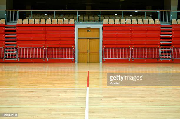 Red Stand in Empty Sports Hall