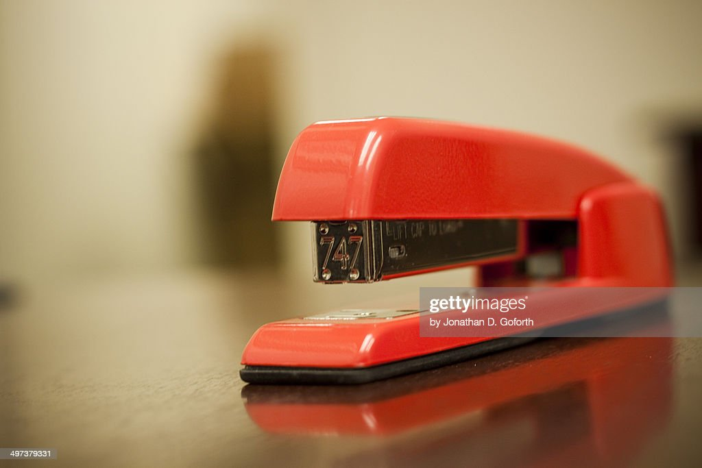 Red Stapler : Stock Photo