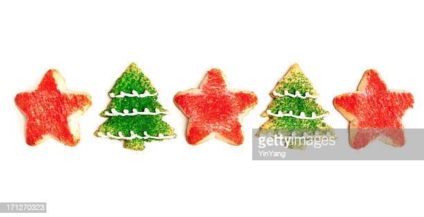 レッドの星とグリーンクリスマスツリーのクッキーで、白背景