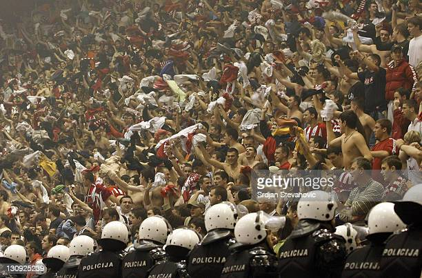 Red Star Belgrade fans Delije support their club during their group D ULEB Cup basketball match in Belgrade Serbia on December 05 2006