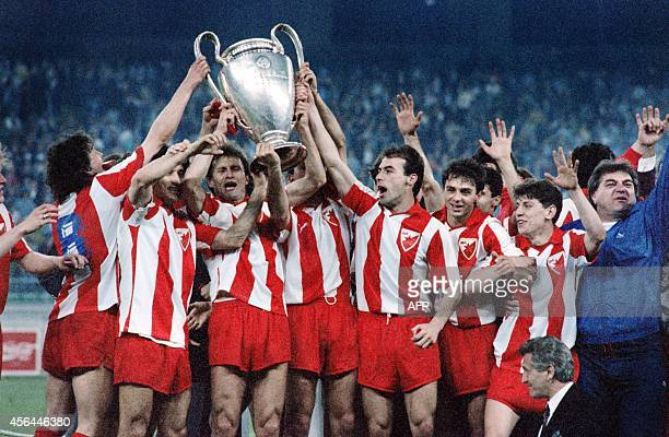 Red star Belgrade players celebrate after winning the European Champions Cup final football match between Olympique de Marseille and Belgrade on May...