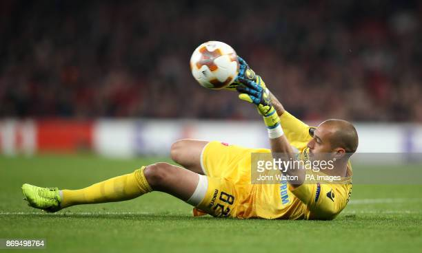 Red Star Belgrade's Milan Borjan makes a save during the UEFA Europa League match at the Emirates Stadium London PRESS ASSOCIATION Photo Picture date...