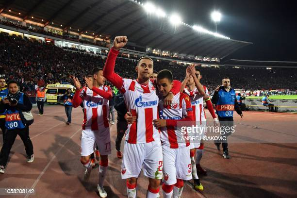 Red Star Belgrade's players celebrate after winning the UEFA Champions League Group C secondleg football match between Red Star Belgrade and...