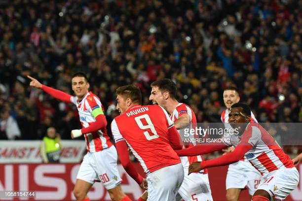 Red Star Belgrade's Serbian forward Milan Pavkov celebrates after scoring a goal during the UEFA Champions League Group C secondleg football match...