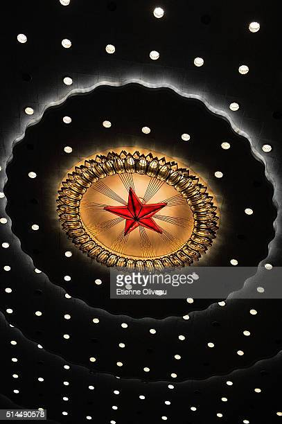Red star is on the ceiling of the main meeting hall of the Great Hall of the People during the Second Plenary Meeting, on March 9, 2016 in Beijing,...