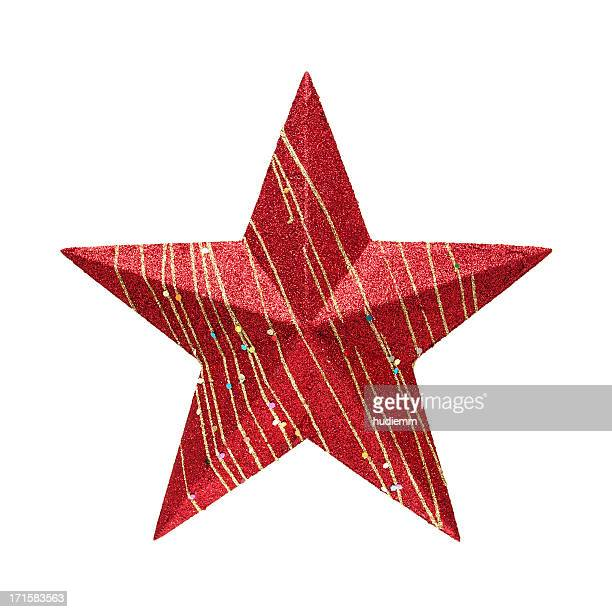 red star (clipping path!) isolated on white background - christmas star stock photos and pictures