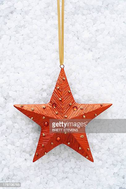 Red star shaped christmas decoration