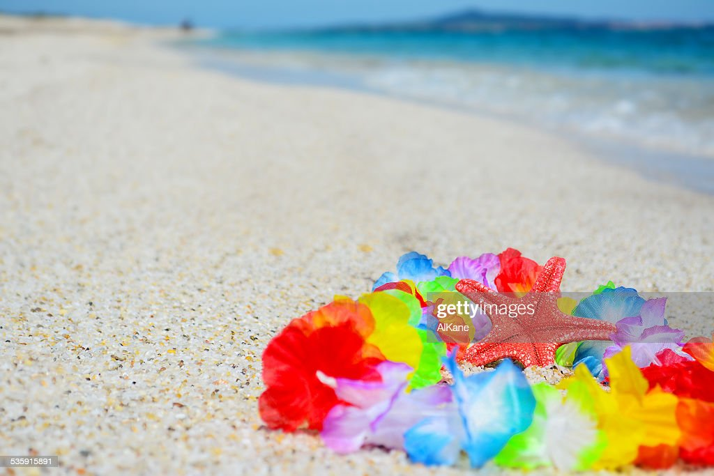 red starfish on a hawaiian necklace : Stock Photo