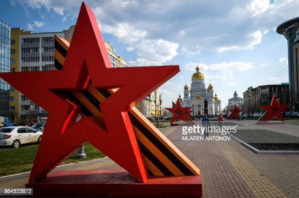 Red stars are installed for the 73rd anniversary of the Soviet Union's victory over Nazi Germany in World War Two in the town of Saransk on May 3 2018