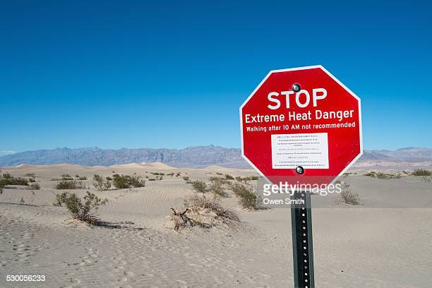 Red stop sign, Stove Pipe Dunes, Death Valley, California, USA