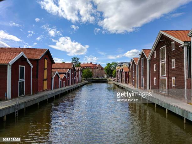 Red store houses in Sweden