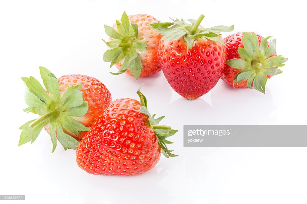 Red strawberries on white background : Stock Photo