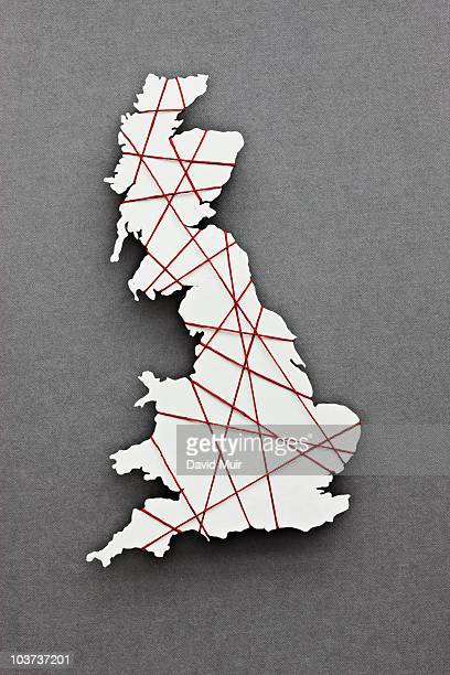 red string wrapped around the map of England