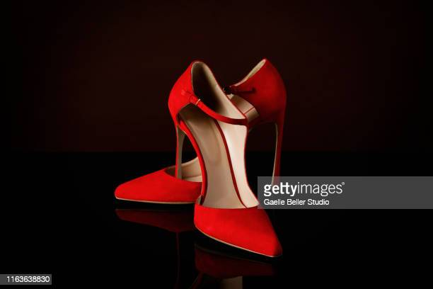 red suede stilettos - footwear stock pictures, royalty-free photos & images