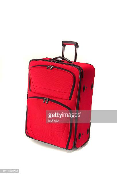 red suitcase - wheeled luggage stock photos and pictures