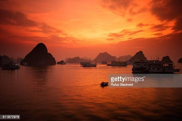 Red Sunset Ha Long Bay