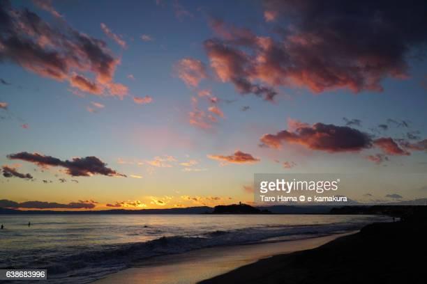Red sunset on the beach in Kamakura