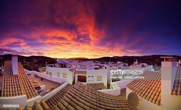 red sunset - ibiza island stock pictures, royalty-free photos & images