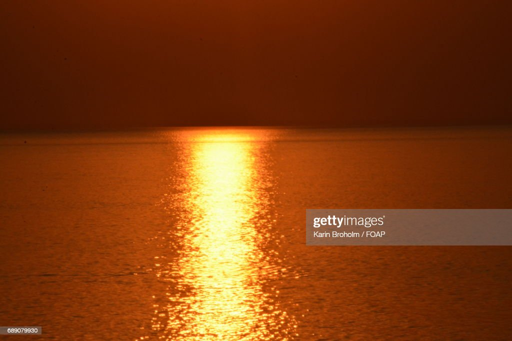 Red sunset view at sea : Stock Photo
