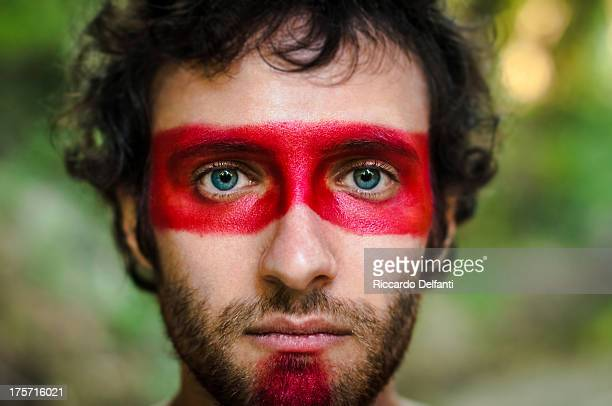 red survivor - face paint stock pictures, royalty-free photos & images